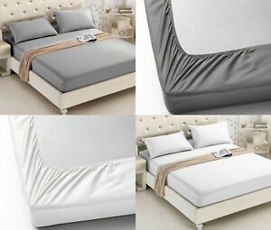 600TC-30CM-FITTED-SHEET-100-EGYPTIAN-COTTON-HOTEL-QUALITY-DOUBLE-SUPERKING-SIZE