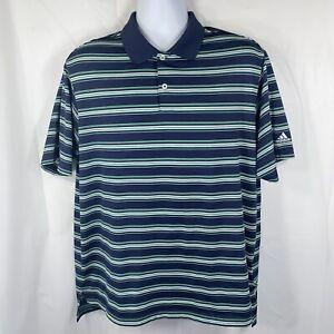 Adidas Men's XL Navy Blue Green White Striped Short Sleeve Golf Polo Shirt