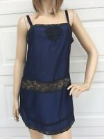 Intimately Free People Navy Blue Négligée Black Lace Adjustable Straps Medium