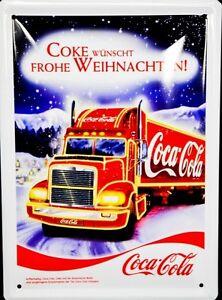 Coca-Cola-Werbeschild-Blechschild-034-Coke-wuenscht-frohe-Weihnachten-amp-qu
