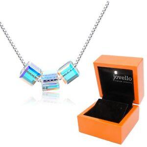 Multicolor-Kristall-Wuerfel-Cube-Halskette-Kette-aus-925-Silber-LED-Holzbox