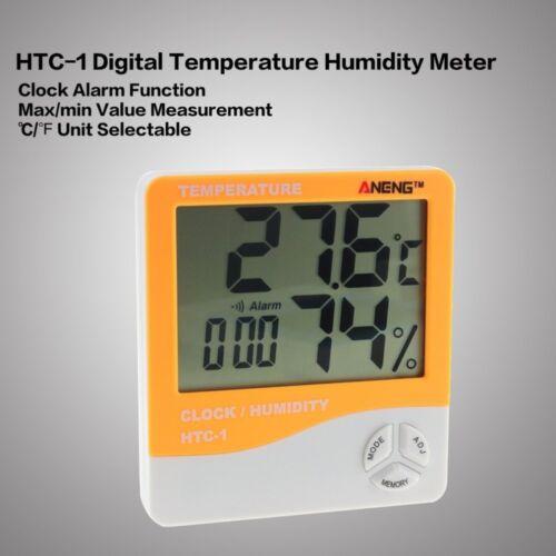 Digital LCD Thermometers Hygrometer Humidity Meter Room Indoor Temperature Clock