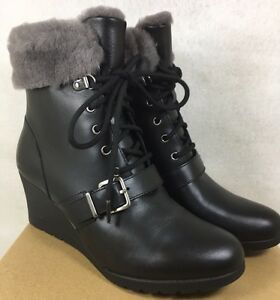 014c3d3ce42 Details about UGG AUSTRALIA JANNEY Black LEATHER SHEARLING WEDGE ANKLE  BOOTS WOMENS 1012527