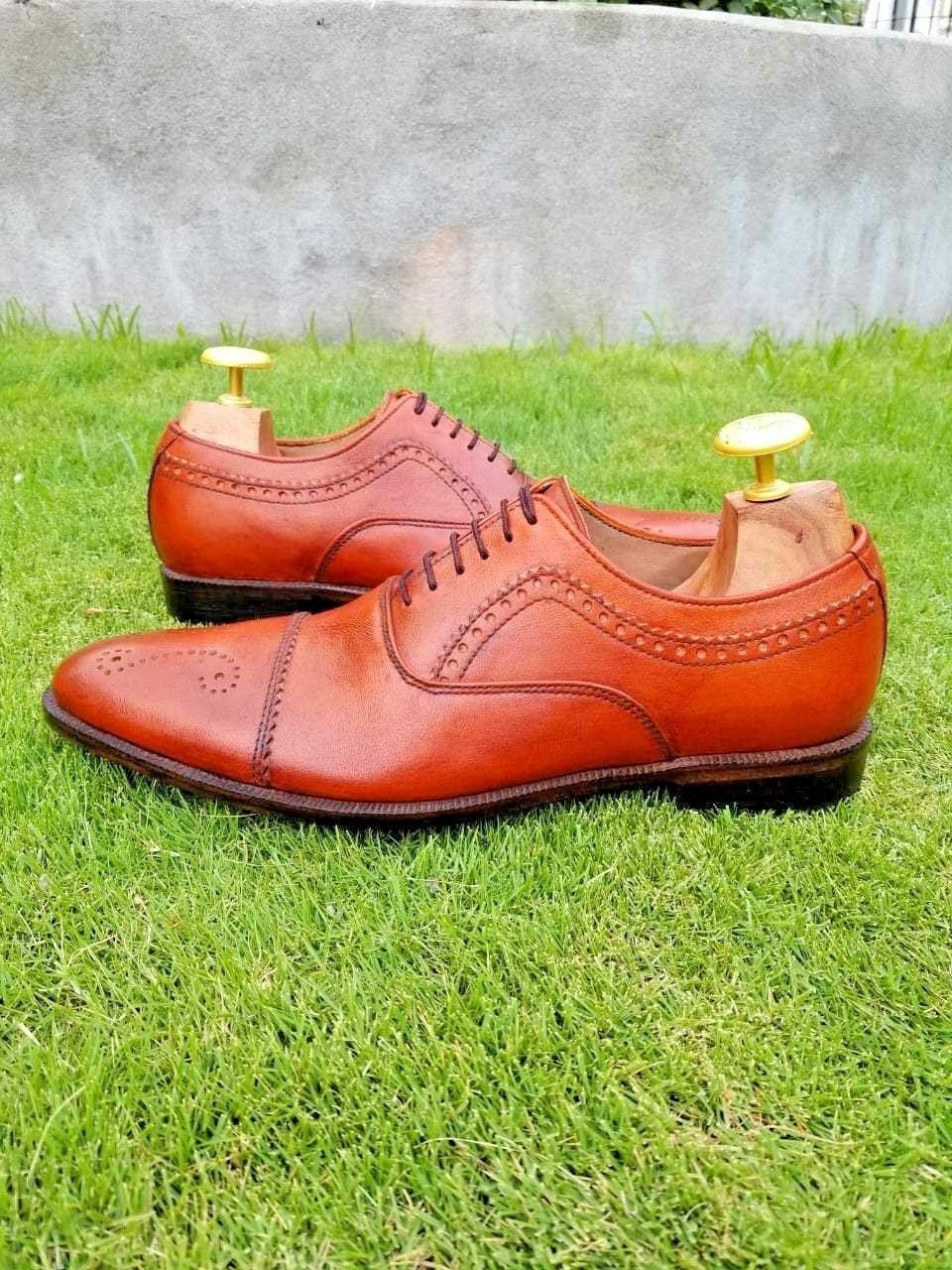 Hombres hecho a mano Bronceado puntera Oxford Brogue formal Vestido Caballero de Moda Zapato