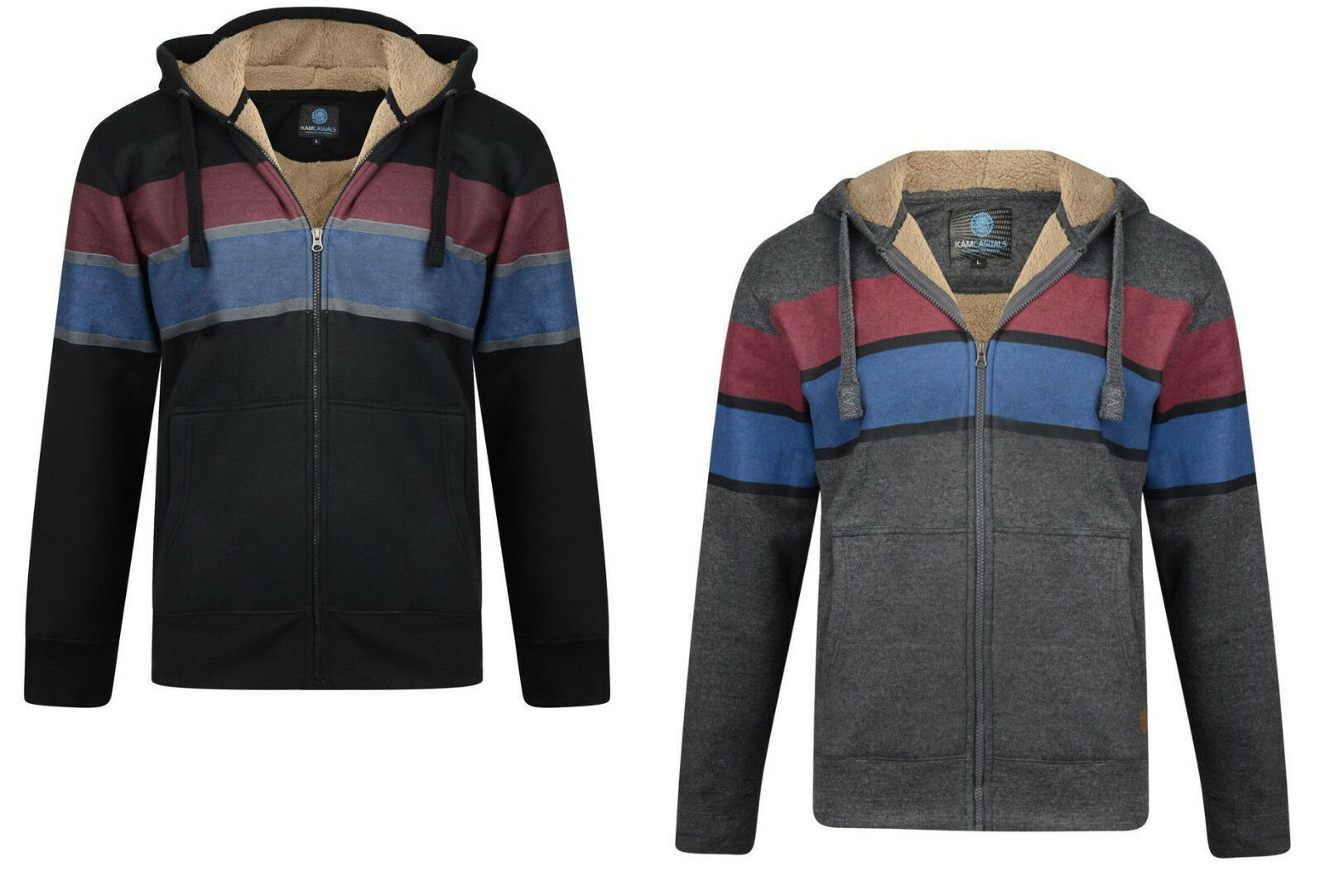 Kam Jeanswear da uomo full zip con coulisse Sherpa Felpa a Righe Giacca Felpa