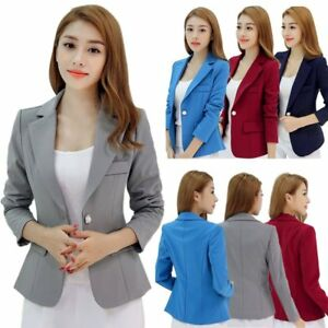 90e2146f3 Women's Casual Solid Suit Jacket Blazer Business Coat One Button OL ...