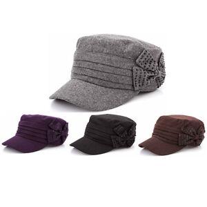 879e02bd0bb2e6 Women Ladies Autumn Winter Wool Military Cap Cadet Patrol Army Hats ...
