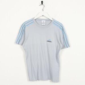 Vintage-Women-039-s-Adidas-Petit-Logo-T-SHIRT-TEE-gris-Large-L