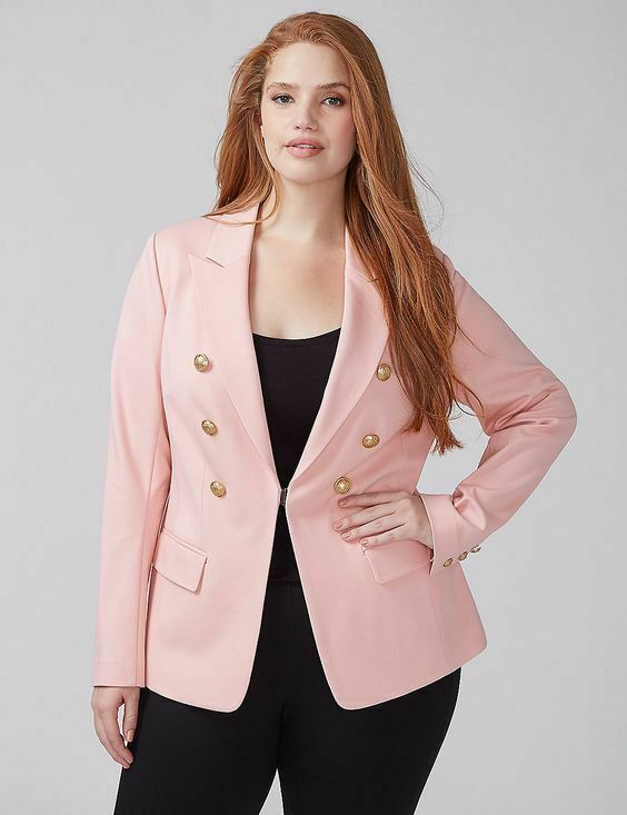 3267a8ab725 NEW LANE BRYANT PLUS SIZE PINK DOUBLE BREASTED PONTE BRYANT BLAZER SZ 22