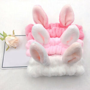 1pcs Rabbit Bunny Ear Makeup Headband Mask Soft Hair Band Women Face Wash Band