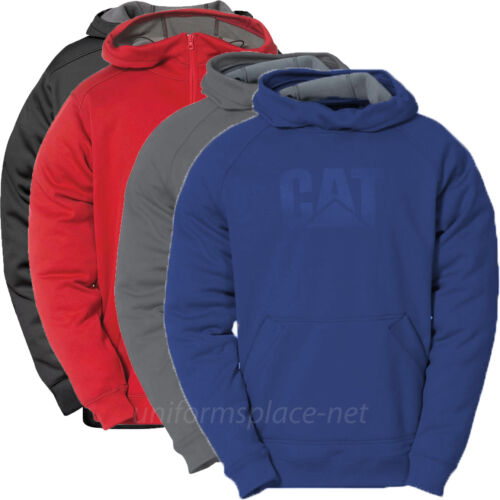 Pullover Sweater Caterpillar Sweatshirt Men CAT Logo Hood Shield Fleece Zipper
