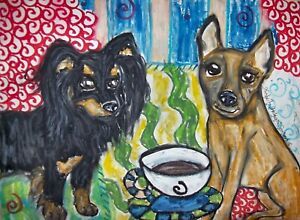 RUSSIAN-TOY-Dog-Drinking-Coffee-Pop-Art-8x10-Print-from-Painting-by-Artist-KSAMS