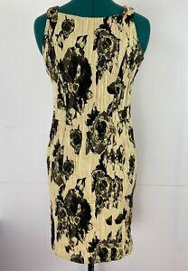 Cue-Beautiful-Sleeveless-Rose-Print-Dress-Italian-Fabric-Corporate-Dress-Size-8