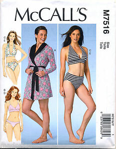 MCCALL'S SEWING PATTERN 7516 MISSES 16-26 LINGERIE ROBE BRAS PANTIES, PLUS SIZES