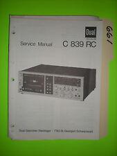 Dual c 839 rc service manual original repair book stereo tape deck player