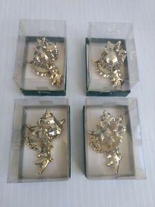 Gold-Plated-Porcelain-Seashells-Christmas-Ornaments-Taiwan-ROC-Set-of-4-Dept-56