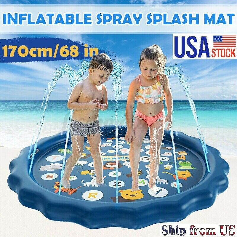Baby Water Playmat Splashpad with Wading Pool Outdoor Backyard Sprinklers Toys Sprinkler Splash Water Play Mat Inflatable Fountain Play Pad for Toddler Navy, 170cm//67inch