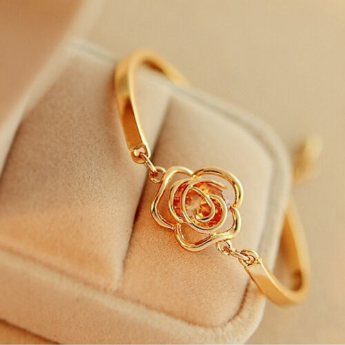 Chic Women Hand Jewelry Gold Plated Hollow  Rose Carving Crystal Bracelet G4SPDE
