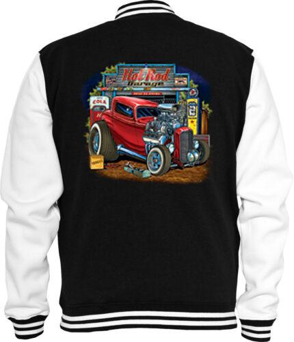 Rockabilly Sweat College Jacke Hot Rod Garage Zündkerze Vintage V8