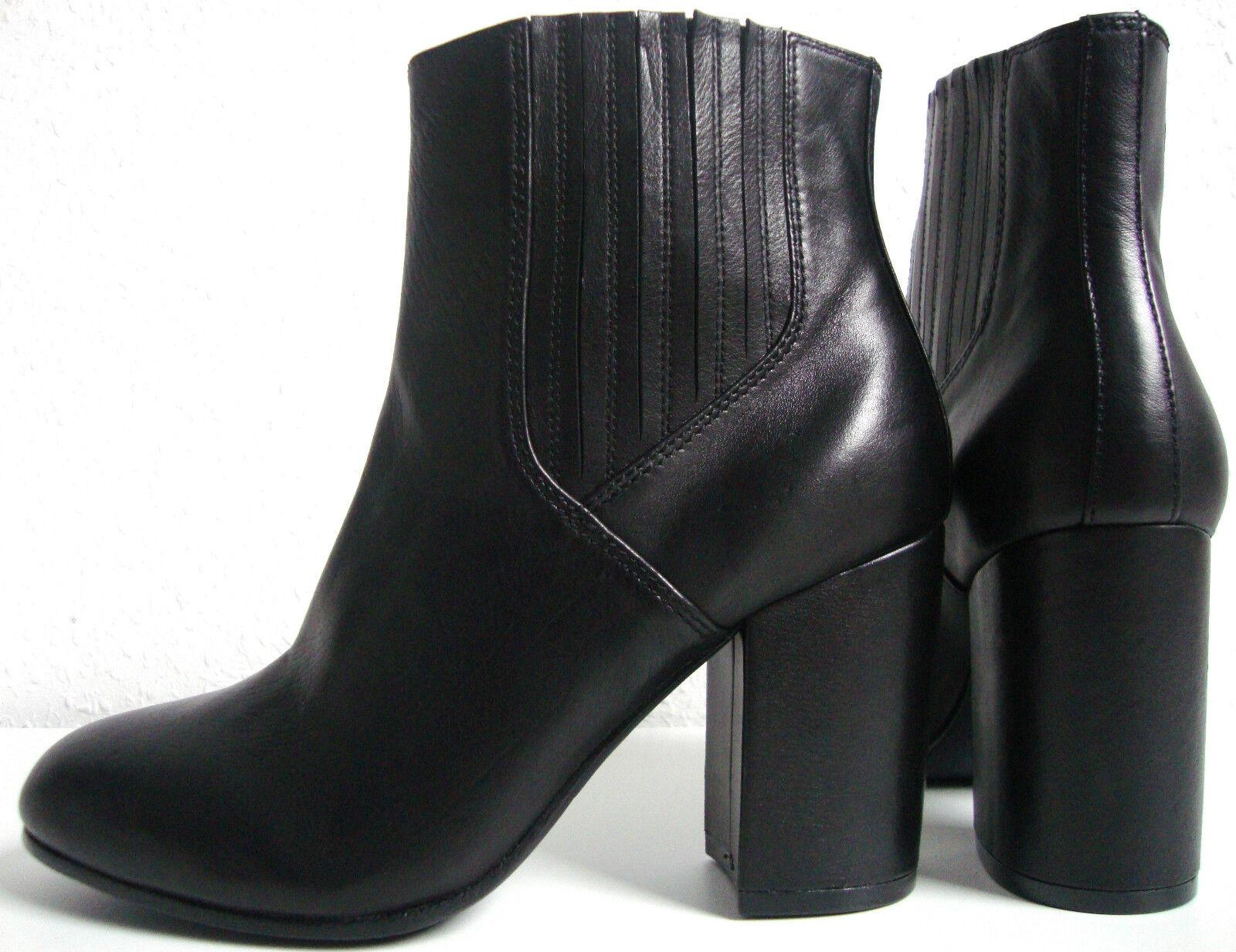ASH FEELING Stiefeletten Leder Ankle Boots Damen Halbstiefel Black Gr.37 NEU