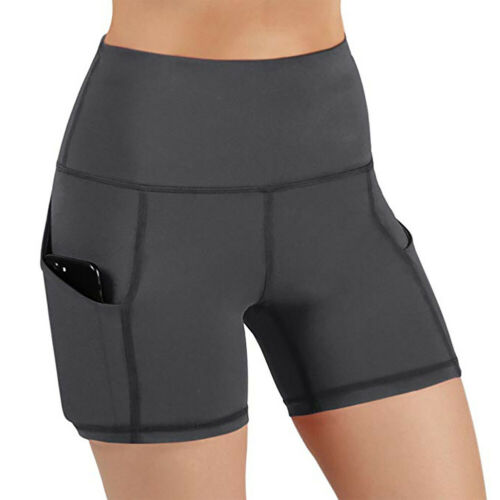 Sports High Waist Gym Workout Elastic Sweat Absorbing Yoga Shorts Solid Slim Fit
