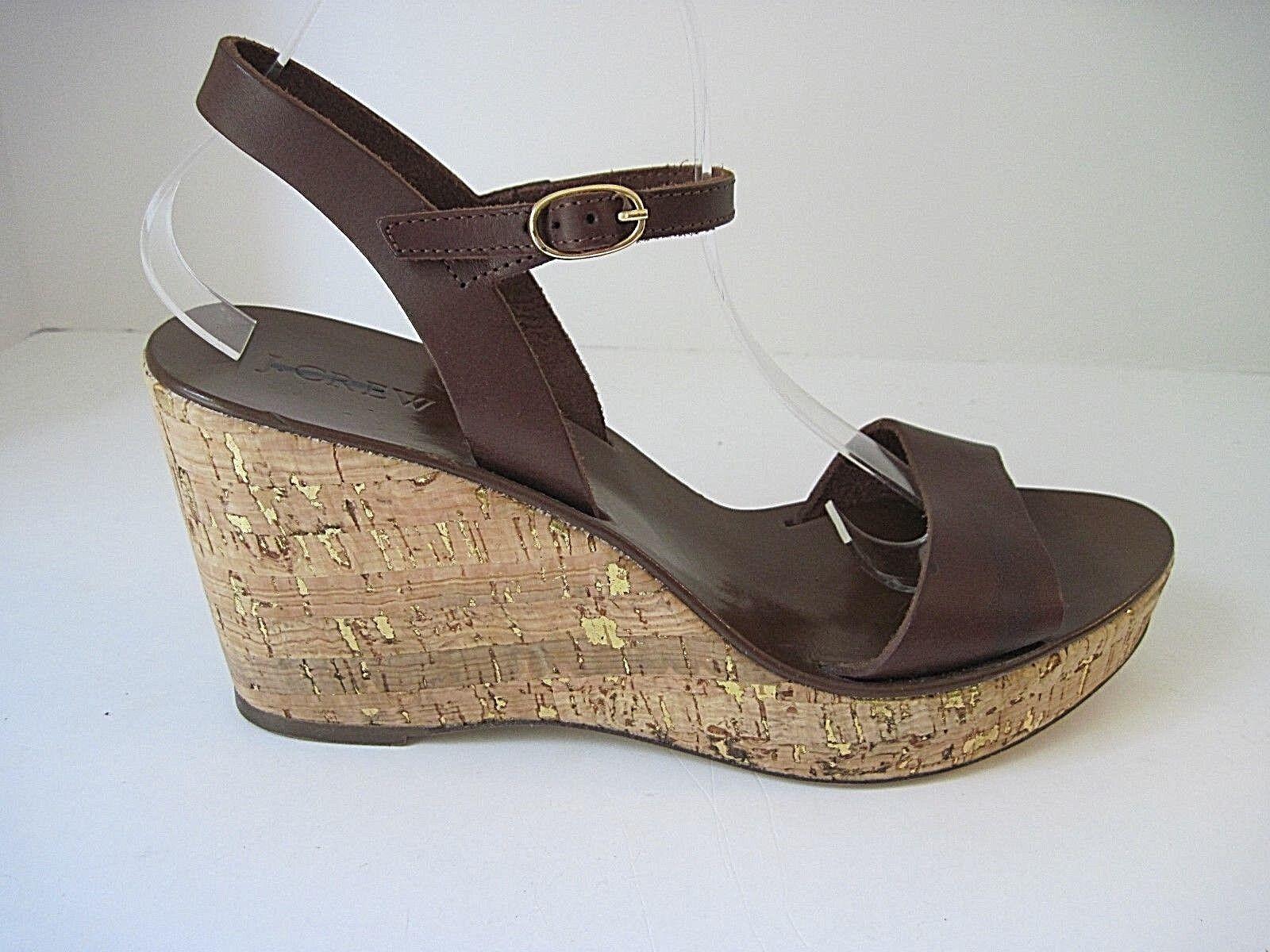 J. Crew Caden Marrón Cuero Cuña De Corcho oro oro oro Metálico Sandalias Zapatos Talla 11  sin mínimo