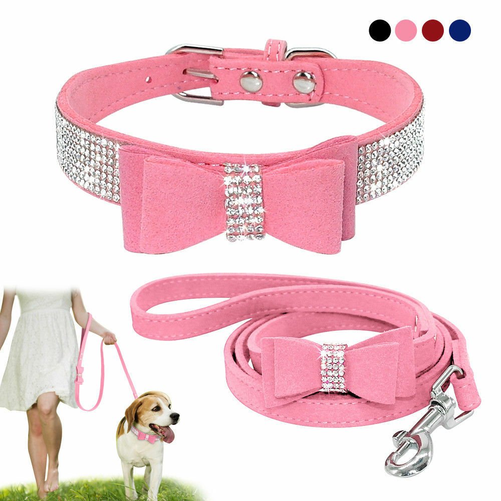 US Rhinestone Dog Collar and Leash Soft Suede Bow for Doggie