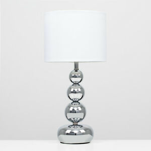 Modern Silver Chrome White Touch Bedside Lounge Table