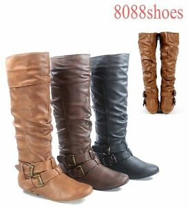 WOMENS STITCHED DETAIL LOW HEEL COWBOY RIDING KNEE HIGH BOOTS LADIES UK SIZE 3-8