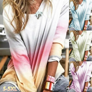 Womens-T-Shirt-Sweatshirt-Loose-Ombre-Blouse-Spring-Tee-Long-Sleeve-Ladies-Tops