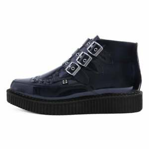 T.U.K. Mens Shoes Black Hologram Patent 3-Buckle Pointed Creeper Boot