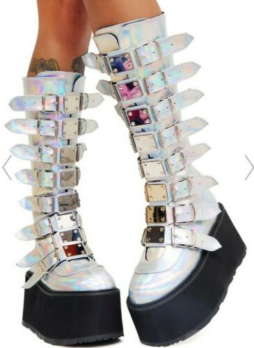 Demonia Iridescent Platform Boots