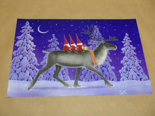 Scandinavian Swedish 3 Tomtar Gnomes on Reindeer Poster Print #40 Eva Melhuish