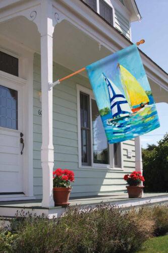 Toland Regatta 28 x 40 Colorful Watercolor Sail Boat Sailing House Flag