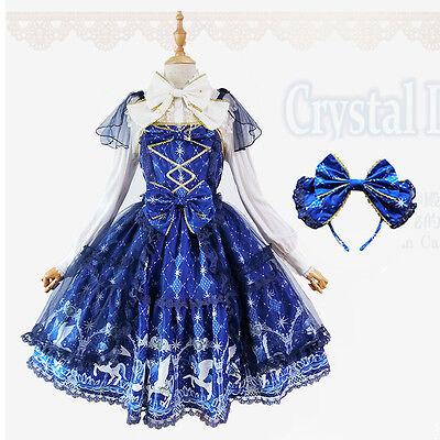 Japanese Dreamlike Vintage Palace Sweet Lolita Print Lace Fairy Princess Dress