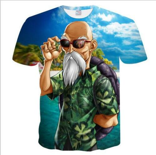 Homme Japonais Anime 3D Master Roshi Kame Sennin Dragon Ball à manches courtes T-Shirt