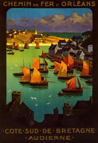 Cote de Bretagne Sailboat Boat France French Fine Vintage Poster Repo FREE SH