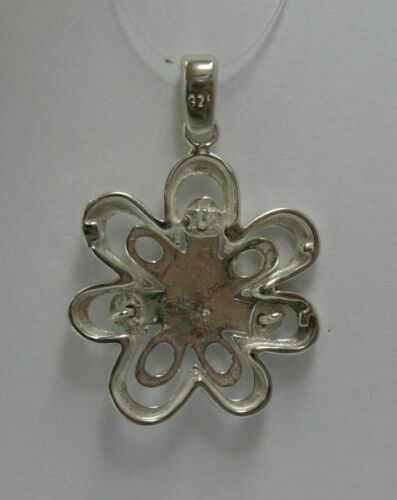 Véritable Pendentif en Argent Sterling Fleur Solide Hallmarked 925 Nickel Libre PE000819
