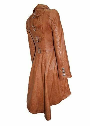 Ladies TAN Lavato Periodo edoardiano indietro Fibbie Lavato Gotico REAL LEATHER JACKET COAT