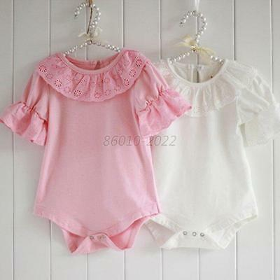 Girls Kids Baby Jumpsuit Ruffled Sleeve Lace Collar Cotton Bodysuits Tops Shirts