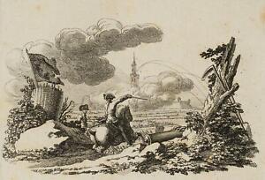 CHODOWIECKI-1726-1801-Bombardement-der-Festung-Schweidnitz-Druckgraphik