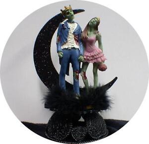 Zombie King Queen Halloween Wedding Cake Topper Funny Skeleton ...