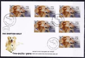 ISRAEL-STAMP-2016-DOGS-ADOPTION-WILLY-ATM-SET-MACHINE-001-LABEL-FAUNA-FDC