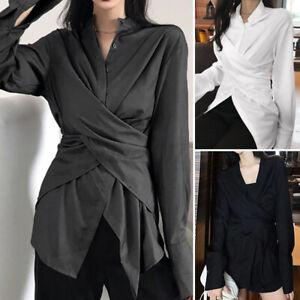 Belle-Femme-Chemise-Loisir-Quotidien-Asymetrique-Manche-Longue-Haut-Shirt-Plus