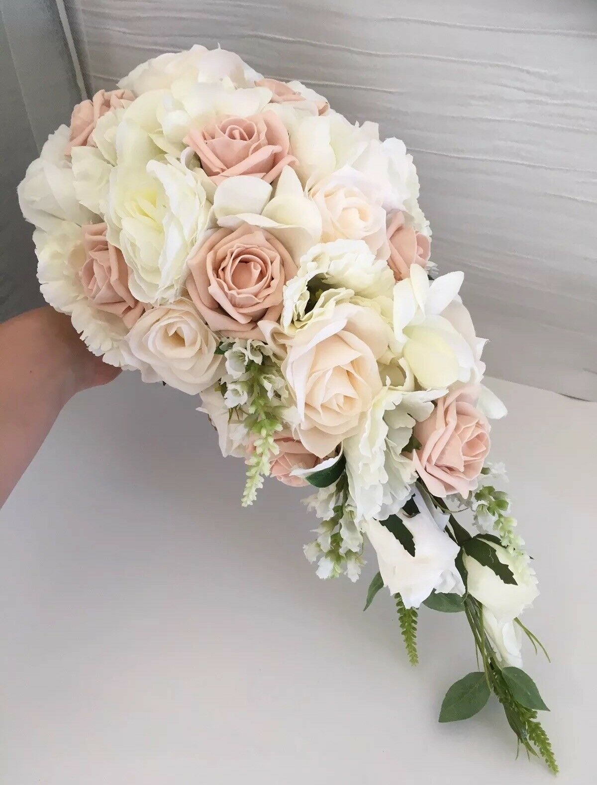 Beautiful Bridal Shower Bouquet In Ivory, Vintage Peach And Champagne - mariage