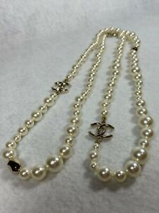 42-034-6-12mm-Chanel-Graduated-Pearl-Necklace-Gold-symbols-Faceted-Beads-B17-P-RARE
