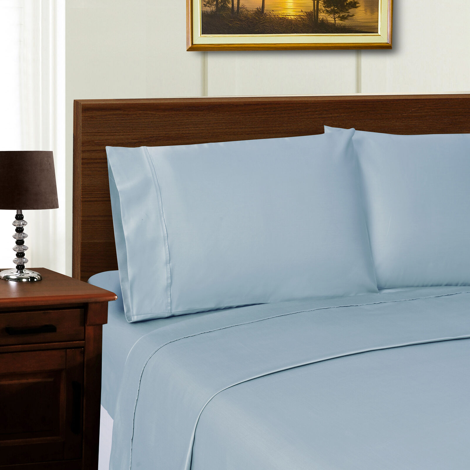Wrinkle-Resistant Tencel Sateen Sheet Set Set Set - Twin, Blau 5c3311