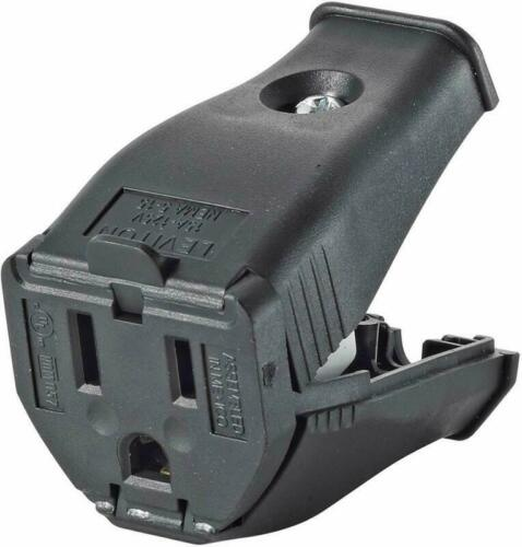 Leviton 3W102-00E 2 Pole 3 Wire Grounding Cord Outlet  Black