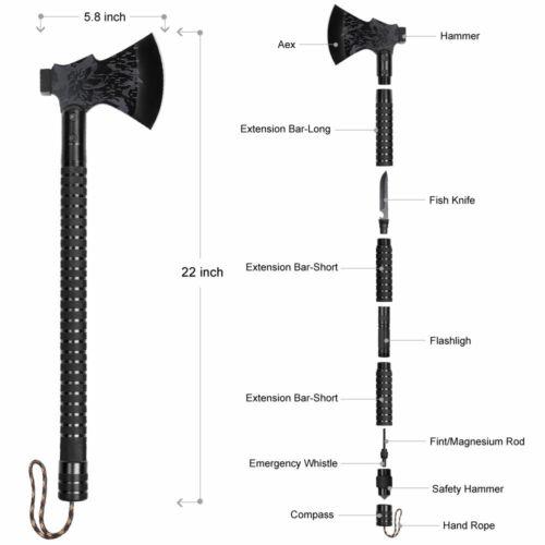 "Folding Survival Hatchet 22/"" Sharpener Camping Axe Sheath Multi-tool"