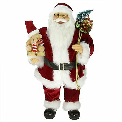 Northlight 24 Standing Santa Claus Christmas Figure With Teddy Bear Gift Bags Ebay